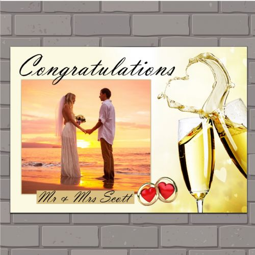Personalised Congratulations Wedding Engagement Anniversary Party PHOTO Poster Banner N135